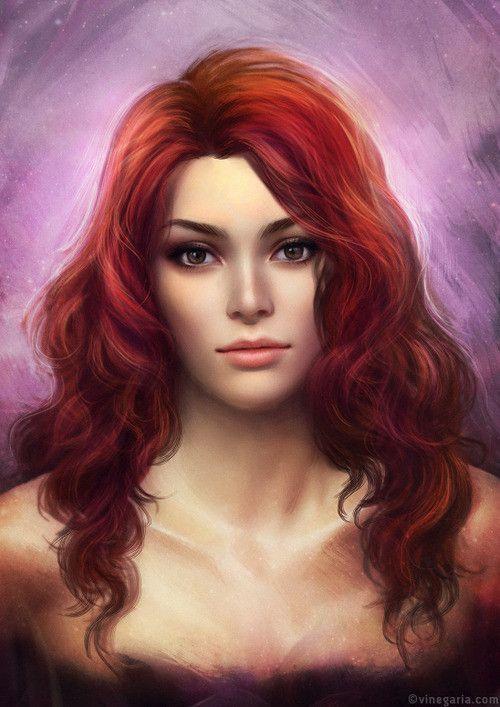 Long Dark Flowing Hair Hazel Eyes Art Painting